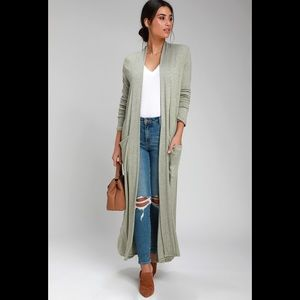 Lulus Darling Days Sage Green Knit Duster